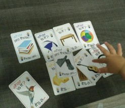 playing flashcards